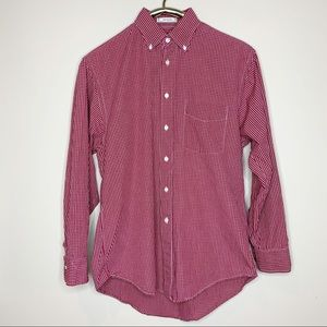 Christian Dior Red Check Button Down Dress Shirt